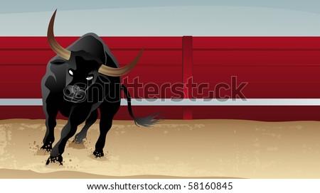 furious black bull on Spanish stadium - stock vector