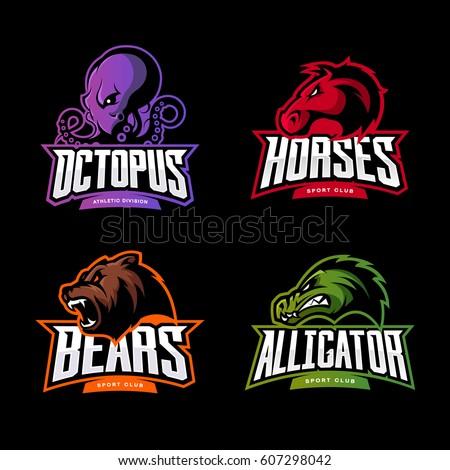 Furious Octopus Horse Bear Alligator Sport Stock Vector 607298042