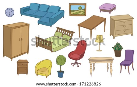 furniture and decoration color vector set - stock vector