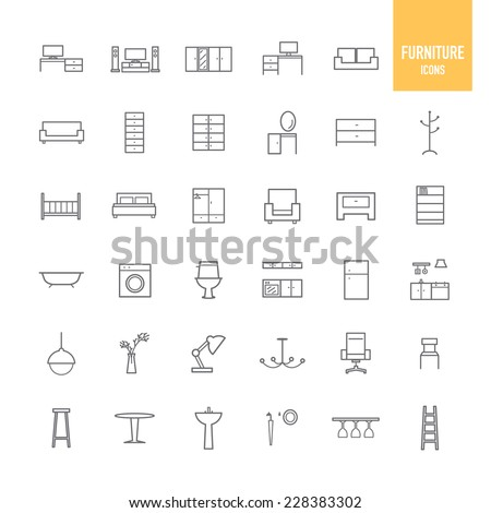 Furniture and home decor icons. Vector illustration. - stock vector