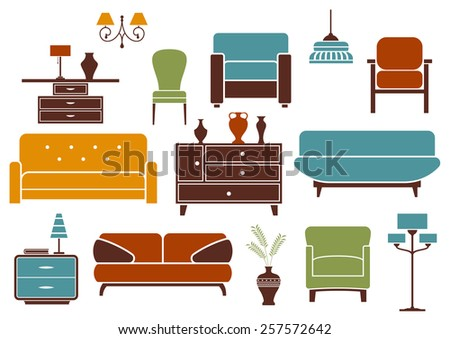 Furniture and home interior design elements including modern sofas with pillows, comfortable armchairs, vintage chair, cabinet with vases, nightstand with lamps, floor lamp and chandeliers - stock vector