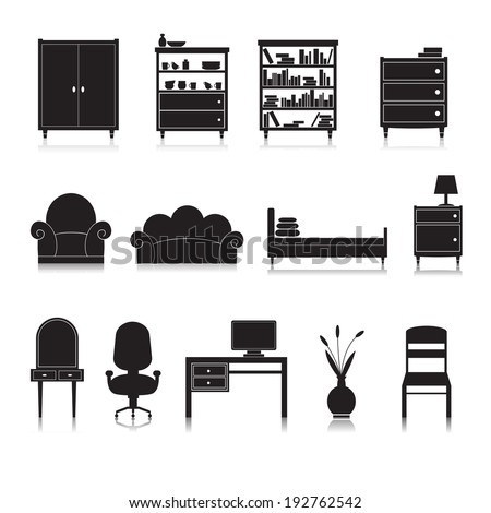Furniture black decorative icons set of wardrobe bookshelf computer table isolated vector illustration - stock vector