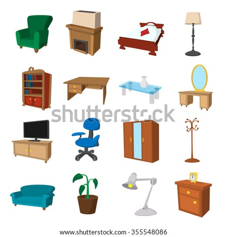 Furniture cartoon icons set. Illustrations of living room and bedroom on a white background - stock vector