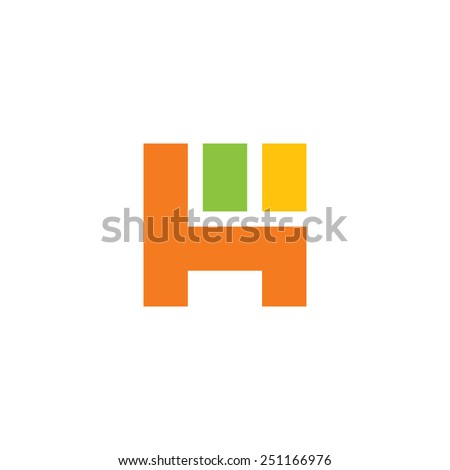 Furniture, chair abstract vector sign Branding identity corporate logo isolated on white background - stock vector
