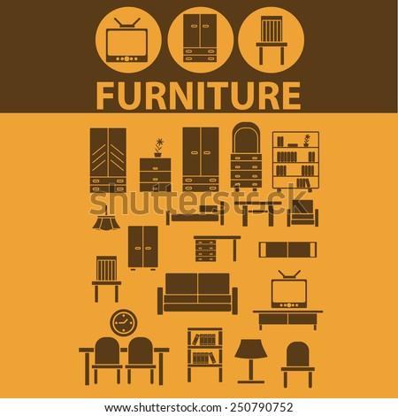 furniture, chair, sofa, cupboard, TV, light, bookshelf flat icons, signs, illustrations design concept vector set - stock vector