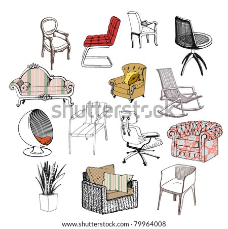 Furniture. Chair. Sofa. Modern & classic style - stock vector