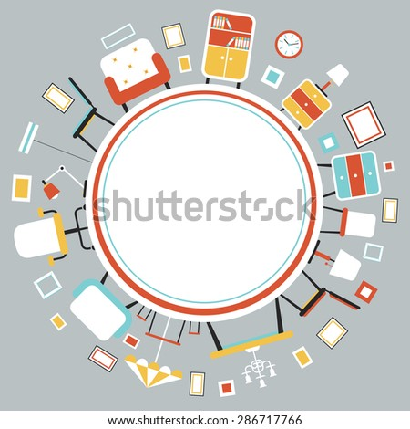 Furniture Flat Icons in Round Frame, Household, Home Interior Objects - stock vector