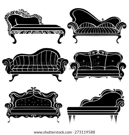 fancy couch drawing. furniture hand drawn set, vintage sofa, couch, front view closeup, black silhouettes fancy couch drawing c