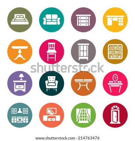 Furniture icon set - stock vector