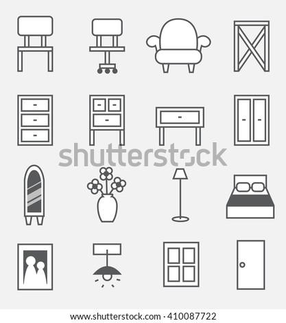 furniture icon set , indoor furniture - stock vector