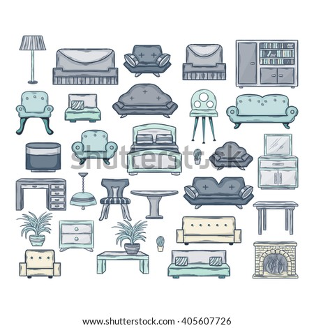 Furniture icon set.Vector Icon set of sofas and armchairs in doddle style with shadow isolated on a white background. - stock vector