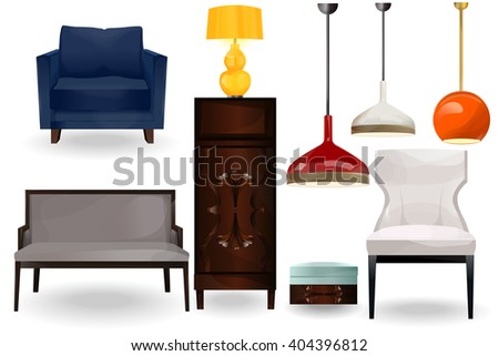 Furniture icons.Lamps, chandeliers, armchairs, sofa, chairs vector isolated on white background.Furniture for home.Big set of furniture.Modern flat design illustration.Interior set art. - stock vector
