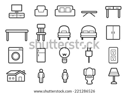 Furniture icons - Outline Illustration - stock vector