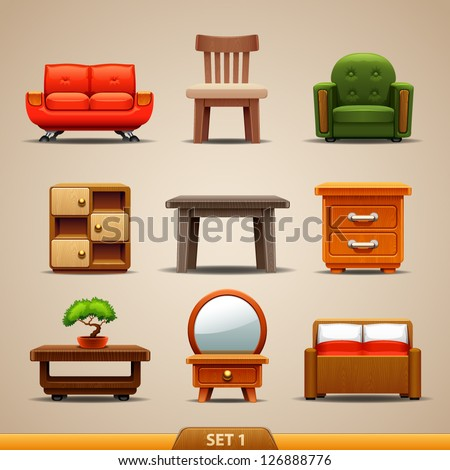 Furniture icons-set 1 - stock vector