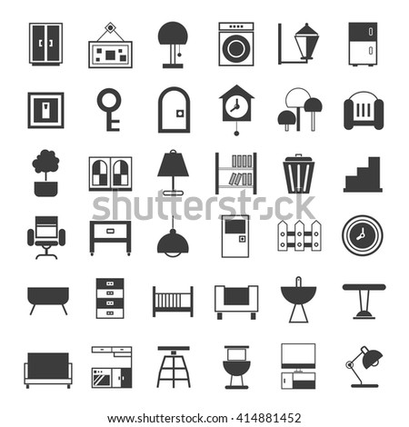 Delicieux Furniture Icons Set, Home Decor Icons