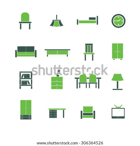 furniture icons, signs, illustrations  - stock vector