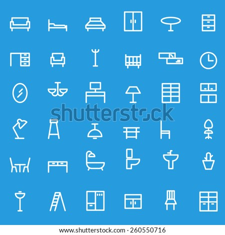 Furniture icons, simple and thin line design - stock vector