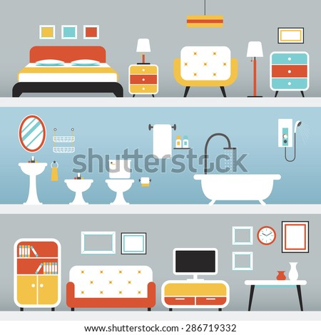Furniture in Bedroom, Bathroom, Living Room, Household, Home Interior Objects - stock vector