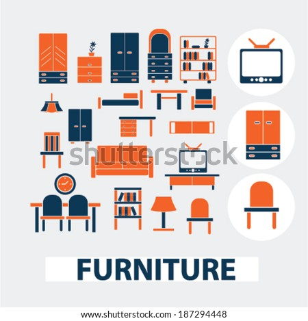 Furniture Interior Design Icons Signs Elements Stock Vector