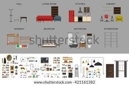 Furniture interior elements. Vector icons set of furniture and accessories in flat style.