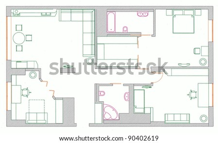 furniture is on architect plan of the flat - stock vector