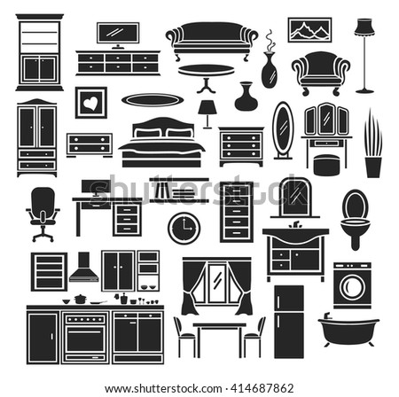 Furniture Items Icons Set Bedroom Living Room Bathroom Objects Home Office