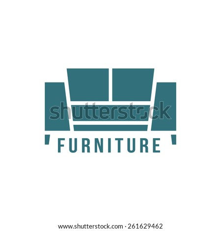 furniture logotype with green sofa icon. concept of store shop or salon mark, corporate stamp, manufacturing. isolated on white background. flat style trendy modern brand design vector illustration - stock vector