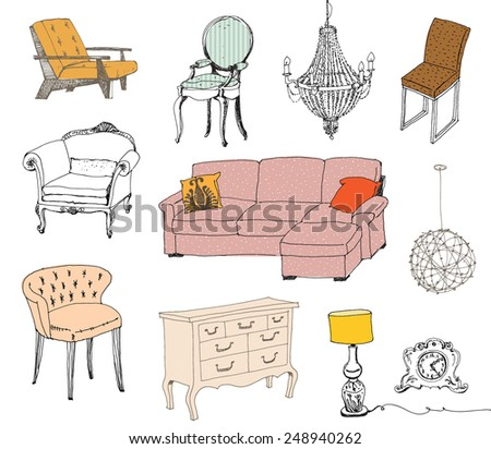 Furniture. Modern & classic style. - stock vector