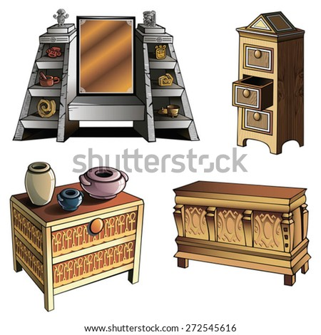 Furniture of different ages and styles, vector illustration   - stock vector