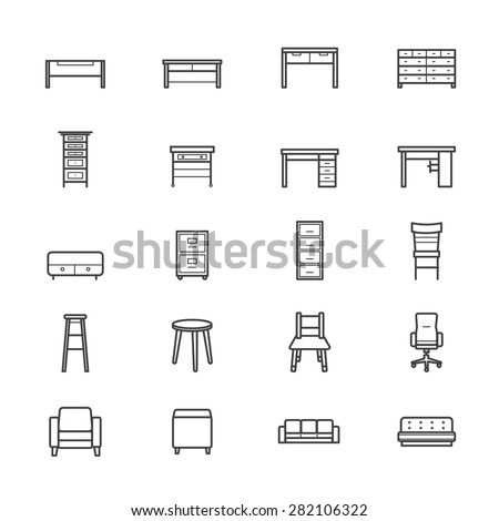 Furniture Office and Home Accessories Icons Line - stock vector