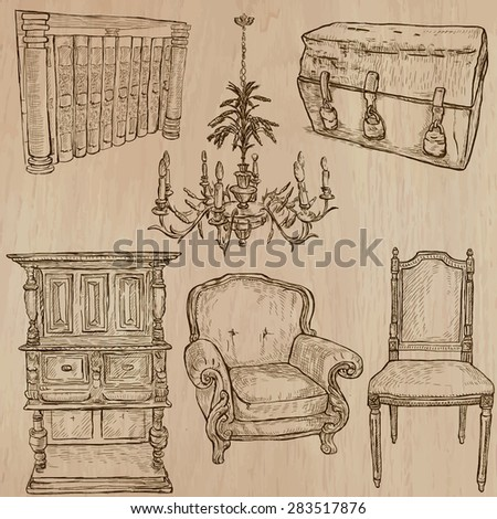 FURNITURE (pack no.2) - Collection of an hand drawn vector illustrations. Each drawing comprise a few layers of lines, the colored background is isolated. Easy editable. - stock vector