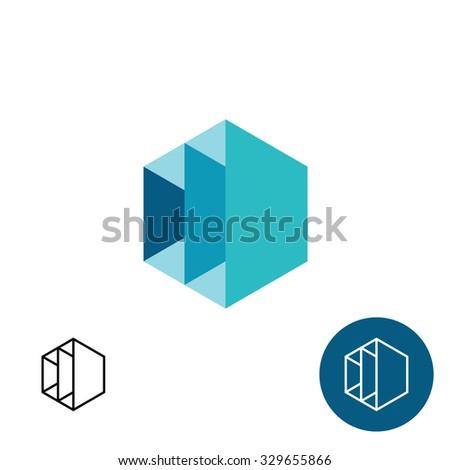 Furniture rack frame construction 3D hex logo template - stock vector