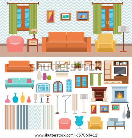Furniture Set Rooms House Flat Style Stock Vector 215187904 Shutterstock