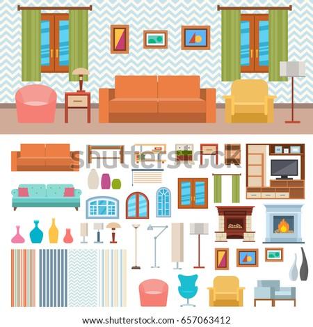 Furniture Room Interior Design Home Decor Concept Icon Set Flat Vector Illustration