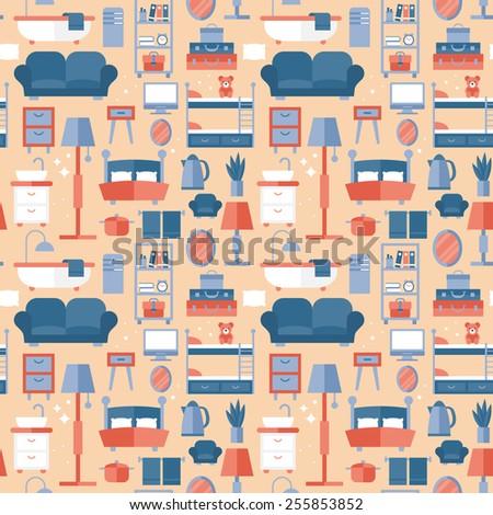 Furniture seamless pattern design - stock vector