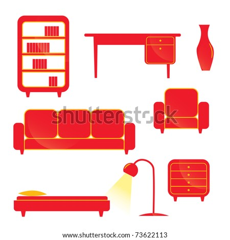 Furniture set - stock vector