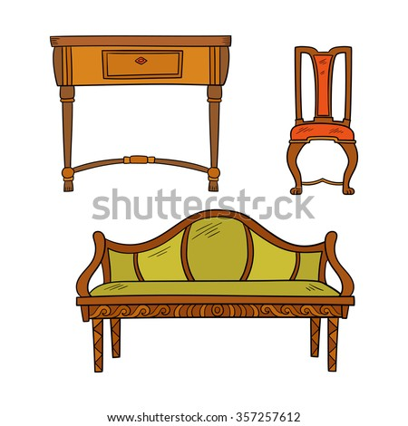 Furniture set: antique bureau, tables, chair isolated on a white background. Vector drawing lines. - stock vector