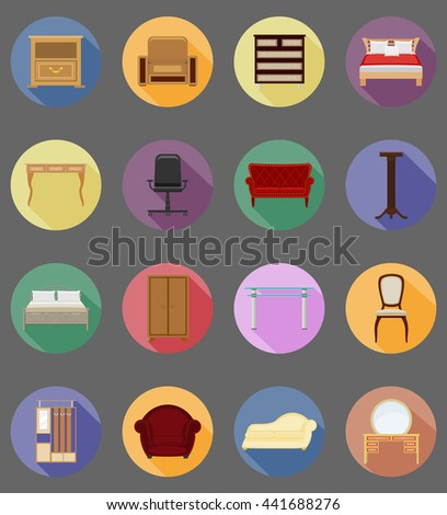 furniture set flat icons vector illustration isolated on white background - stock vector
