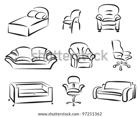 Furniture set for interior design - stock vector