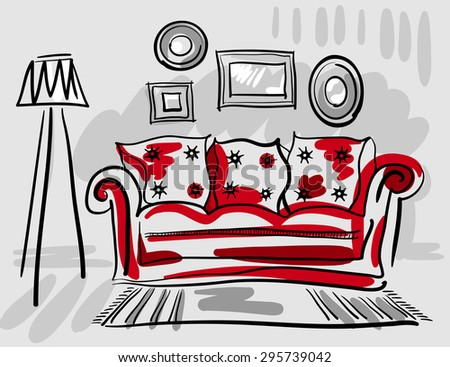 Furniture set for living room with a red couch, floor lamp, carpet and photo frames. Vector hand drawn illustration. - stock vector