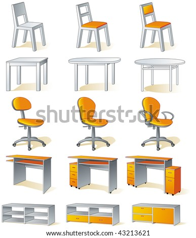 Furniture set - home items - chairs, tables, office chairs, desks, cupboards - stock vector
