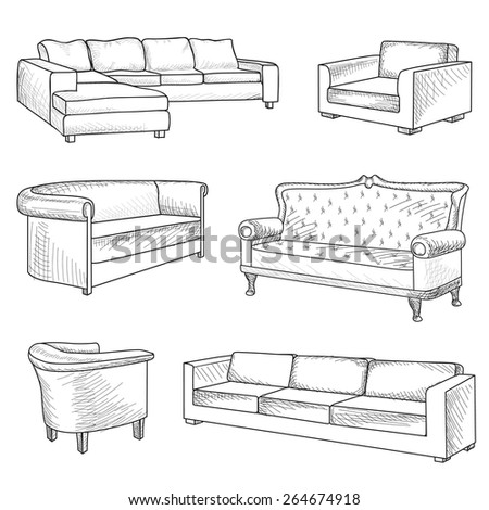 Furniture Set. Interior Detail Outline Sketch Collection: Bed, Sofa,  Settee, Armchair