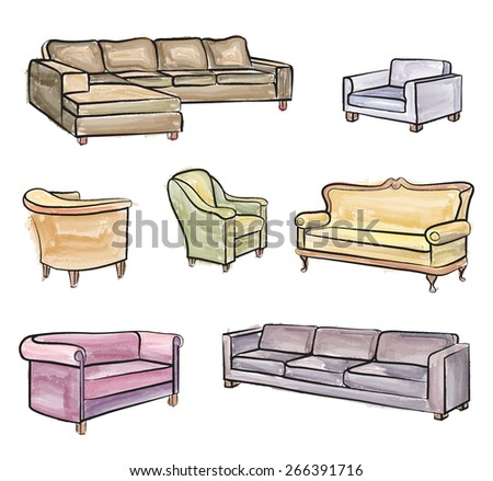 Furniture set. Interior detail water colour outline collection: chair, armchair, stool - stock vector