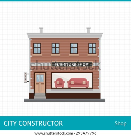 Furniture shop. Shop with sofa in showcase. Buildings for city construction. Set of elements to create urban background, village and town landscape.  Flat style vector illustration. - stock vector