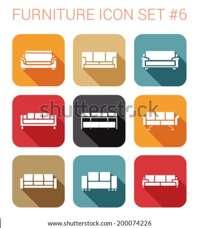 Furniture silhouette flat style long shadow vector icon set. Sofa, couch, settee, armchair. Furniture icons collection.  - stock vector