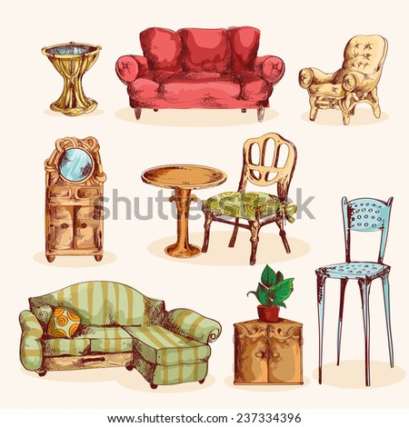 Furniture sketch colored decorative icons set with couch mirror armchair isolated vector illustration - stock vector