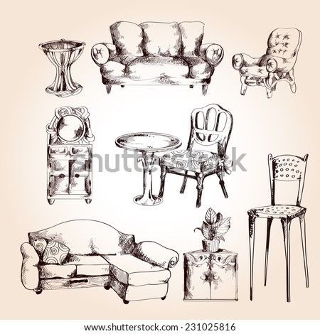 Furniture sketch decorative icons set of chair table sofa isolated vector illustration. - stock vector