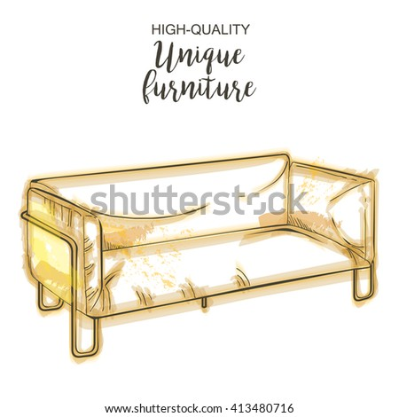 furniture sketch,  modern couch sketch - stock vector