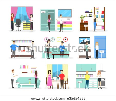 Buying Bed, Sofa, Kitchen And Others On White Background.