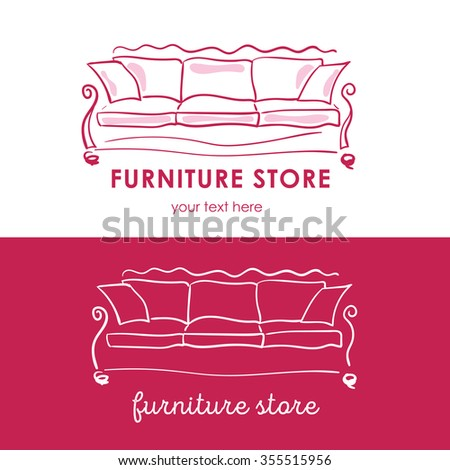 Furniture store logotype, logo, branding, cozy sofa - stock vector